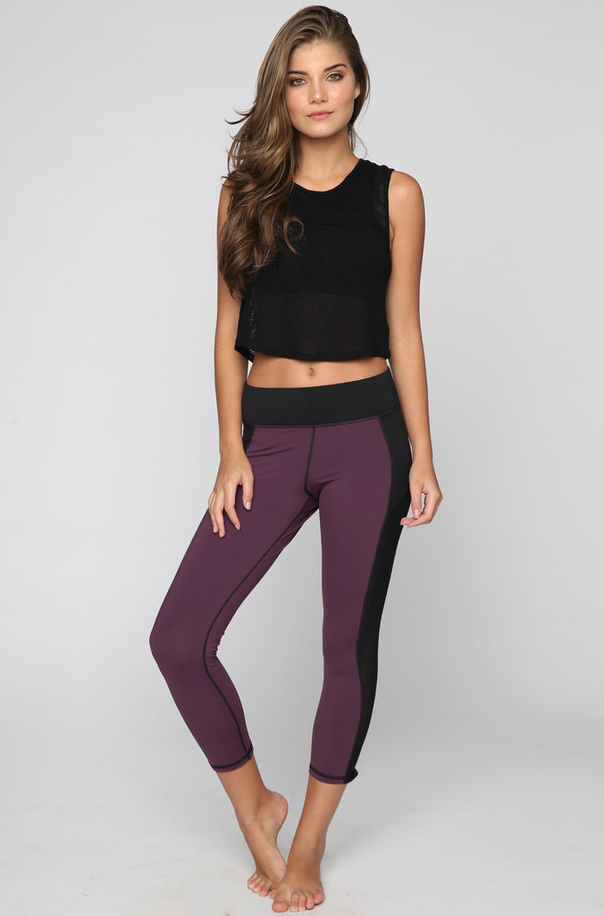 MICHI Stardust Crop Legging in Plum|ISHINE365 - 3
