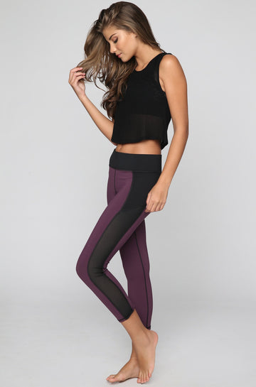 MICHI Stardust Crop Legging in Plum|ISHINE365 - 1