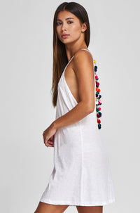 Mini Pom Pom Necklace Dress in White