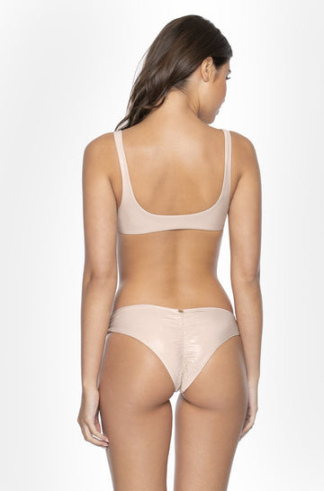 Basic Ruched Teeny Bottoms in Seashell