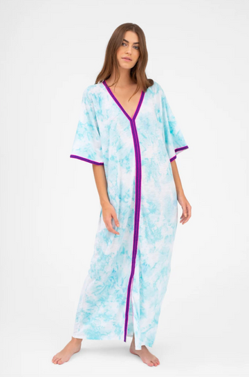 Tie Dye Kaftan in Light Blue