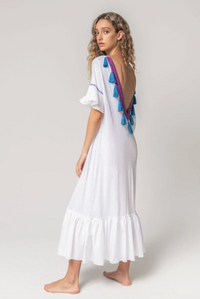 V-Back Tassel Dress in White
