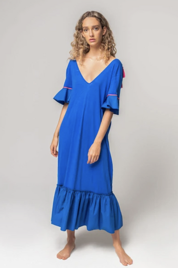 V-Back Tassel Dress in Blue