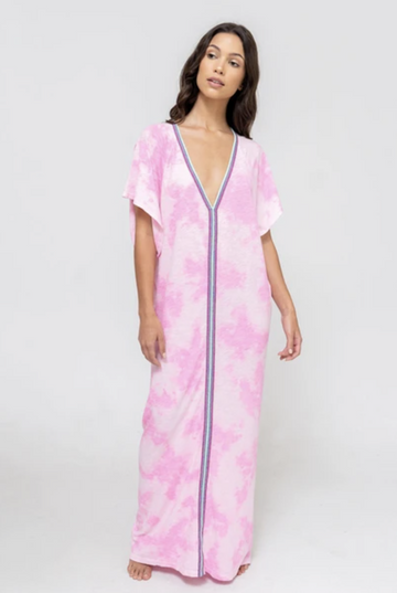 Tie Dye Inca Abaya Sundress in Bubblegum Pink