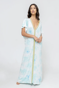 Tie Dye Inca Abaya Sundress in Light Blue