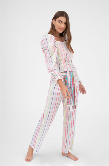 High Rise Comfy Pant Multicolor Stripe