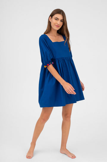 Havana Pom Pom Dress Royal Blue