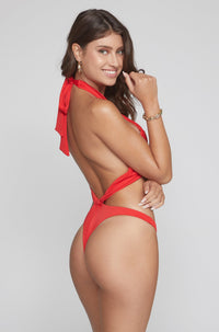 Hailey One Piece in Ribbed Red