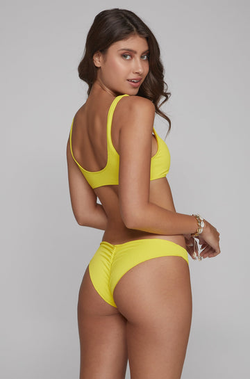 Boss Babe Bottom in Ribbed Yellow