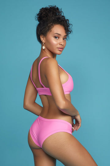 Surf High Cut Bottom in Deep Pink