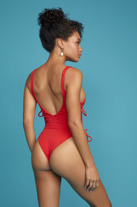 Kati One Piece in Ribbed Red