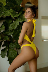 Hailey One Piece in Ribbed Yellow