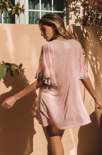 Ruffled Sleeve Dress in Light Pink