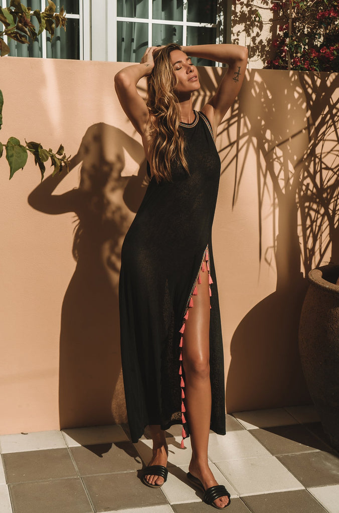 Tassel Slit Dress in Black