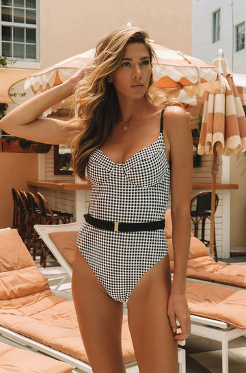 Danielle One Piece Swimsuit in Black Gingham