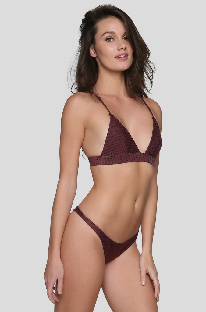 Pipeline Mesh Bikini Bottom in Merlot/Shadow
