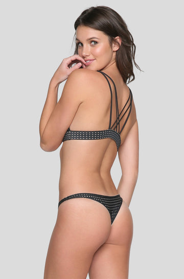 Pipeline Mesh Bikini Bottom in Shadow/Clay