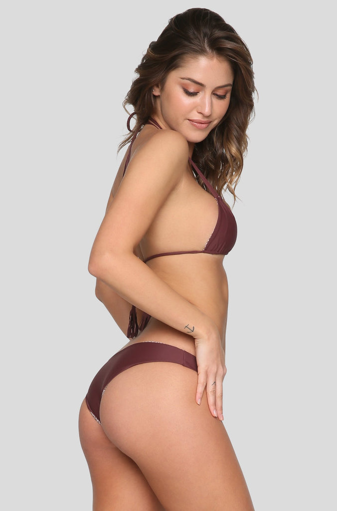 Cannons Bikini Top in Merlot