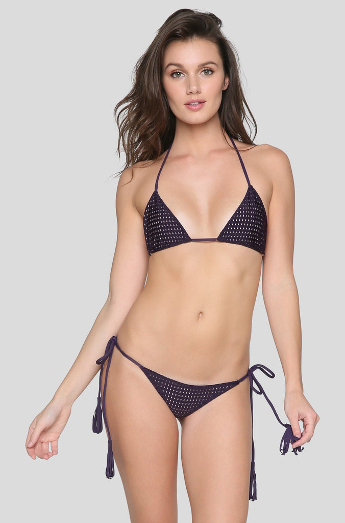 Humuhumu Mesh Bikini Top in Blackberry/Clay