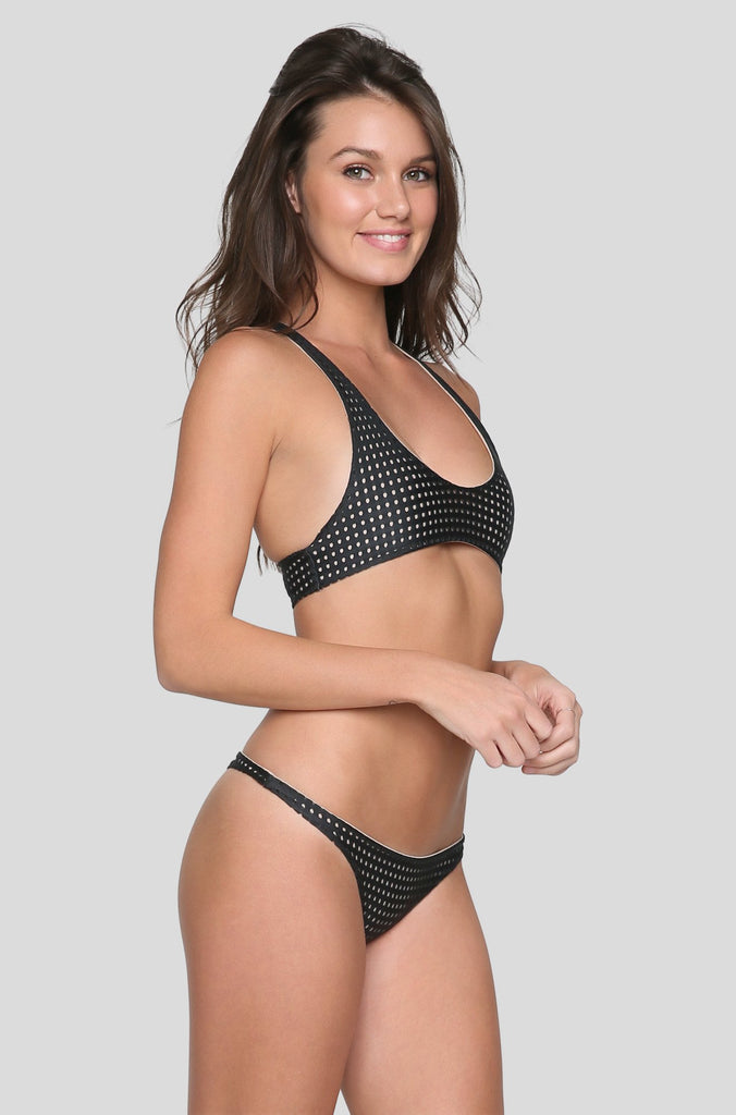 Kailua Mesh Bikini Top in Shadow/Clay