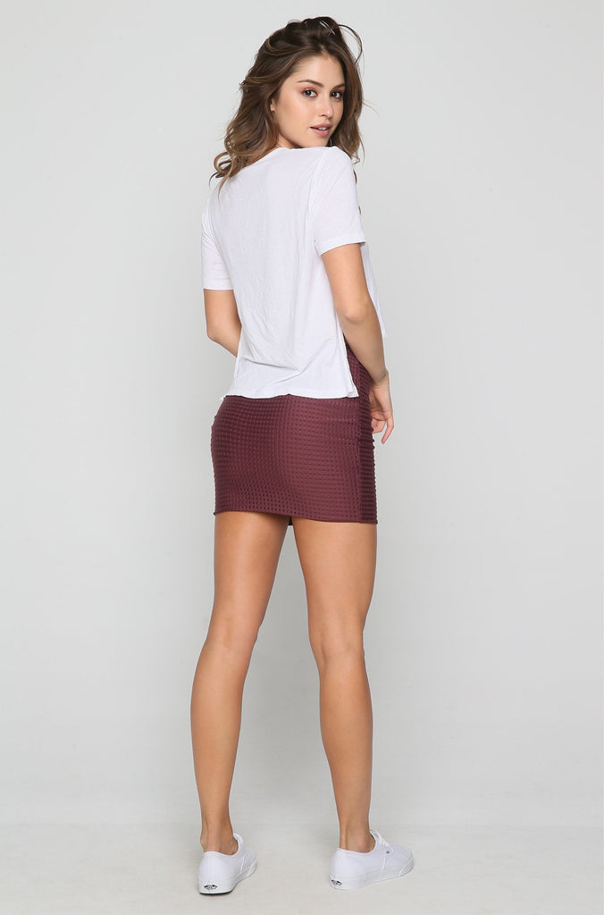 Paia Mesh Skirt in Merlot