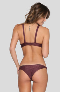 Spain Mesh Bikini Top in Merlot/Shadow