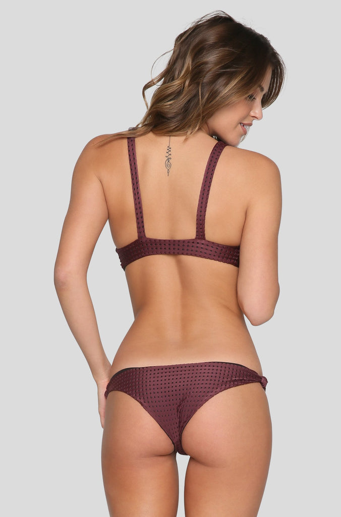 Cusco Mesh Bikini Bottom in Merlot/Shadow