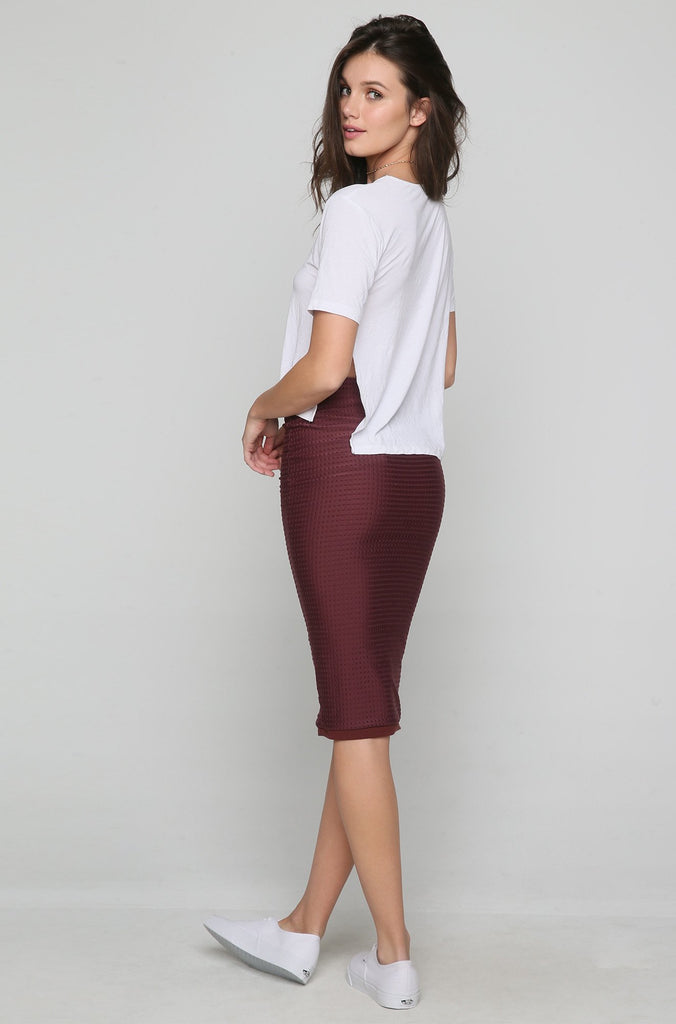 Umalas Mesh Skirt in Merlot