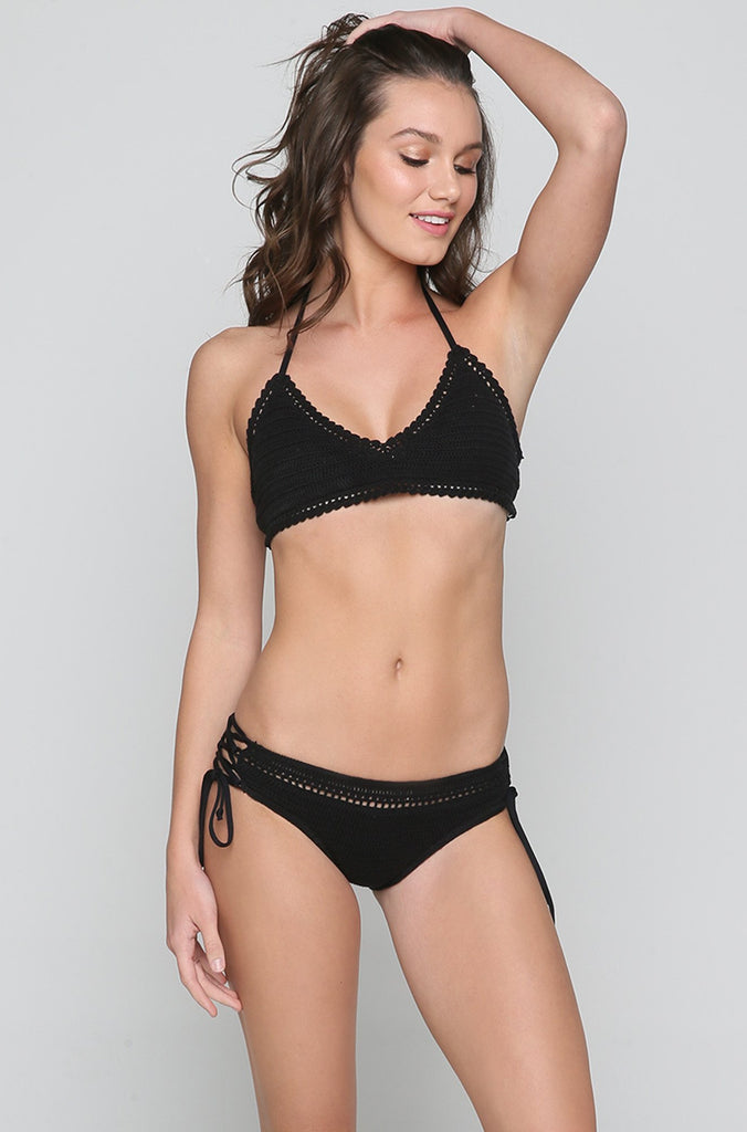 Hippie Hooray Tali Bikini Top in Black