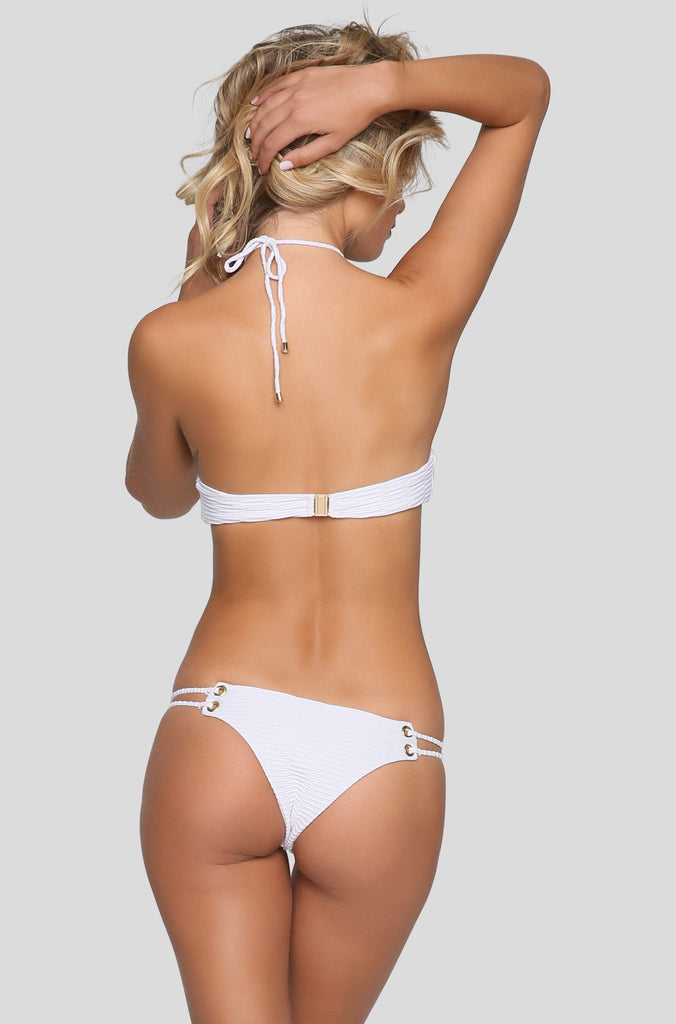 Roped Skimpy Bikini Bottom in White