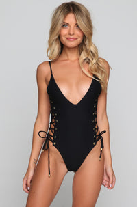 Roped Up One Piece in Black
