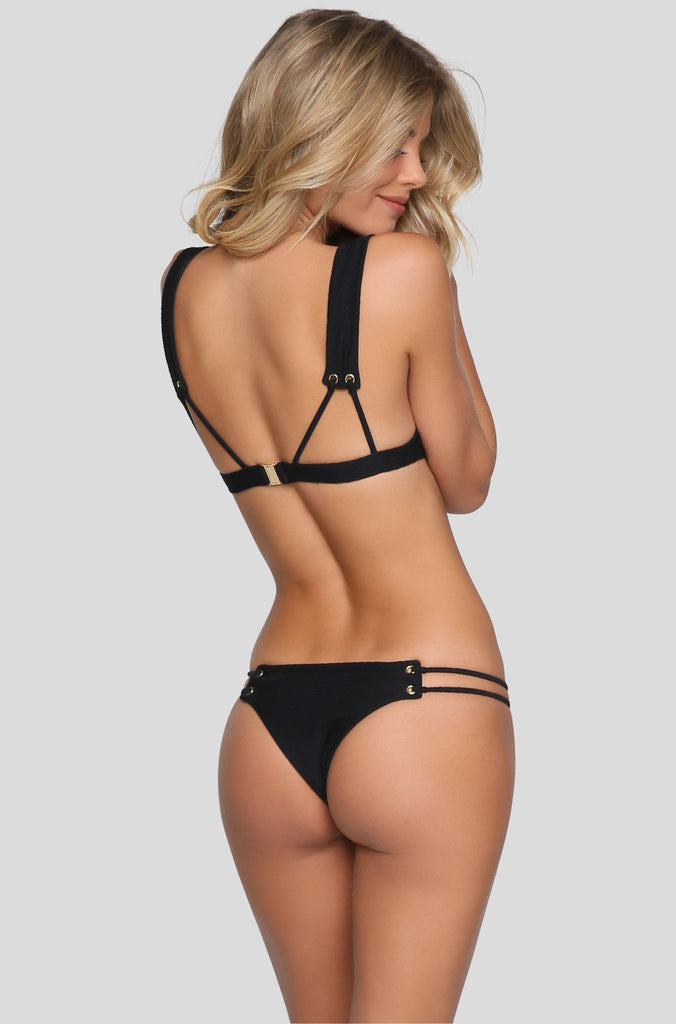 Roped Skimpy Bikini Bottom in Black