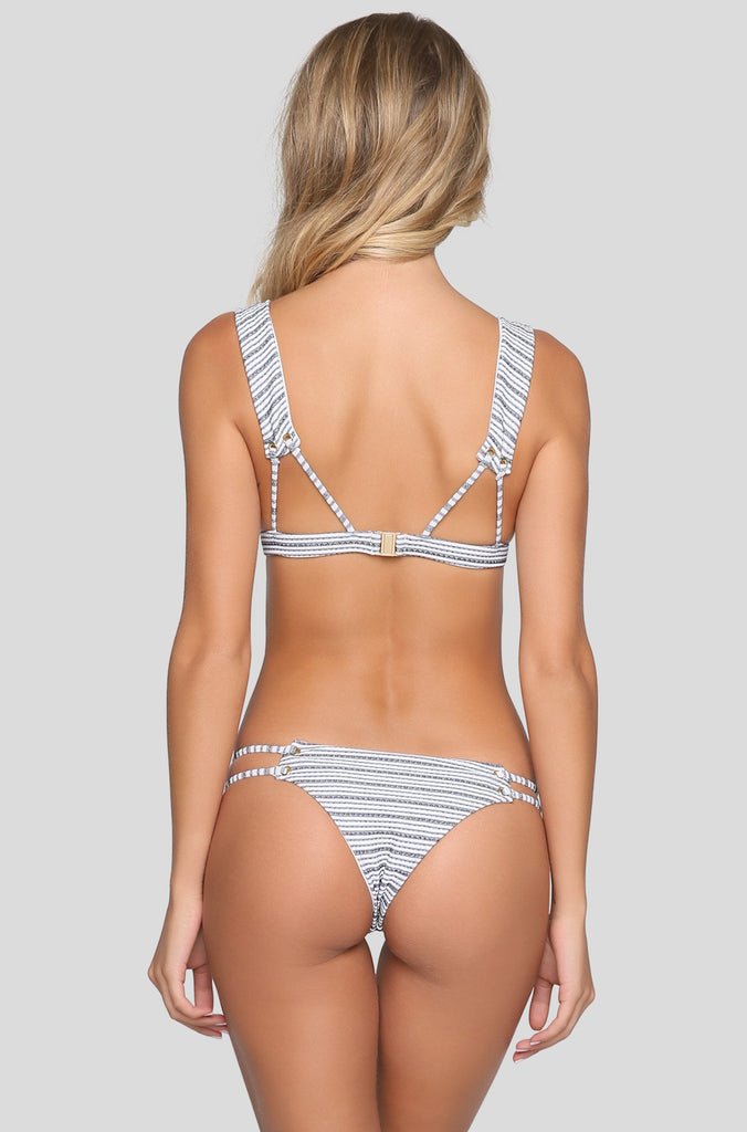 Roped Up Tri Bikini Top in Stripe