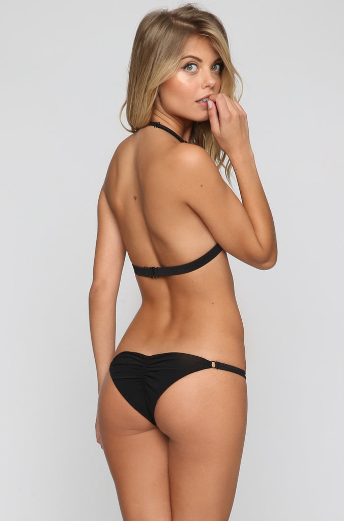 Flower Bomb Skimpy Bikini Bottom in Black