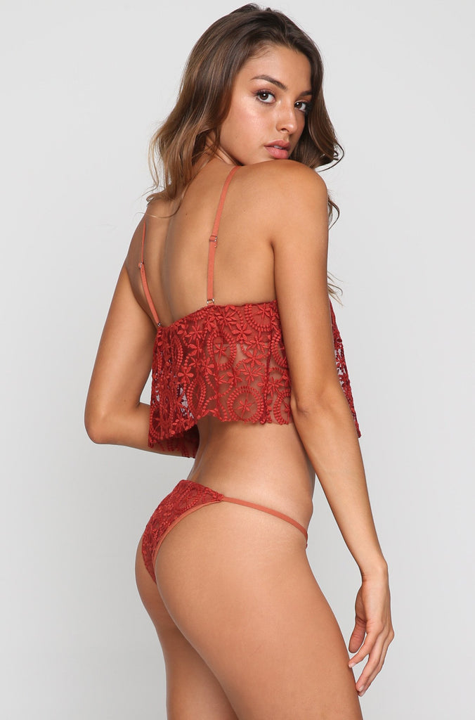 Tribal Skimpy Bikini Bottom in Rust