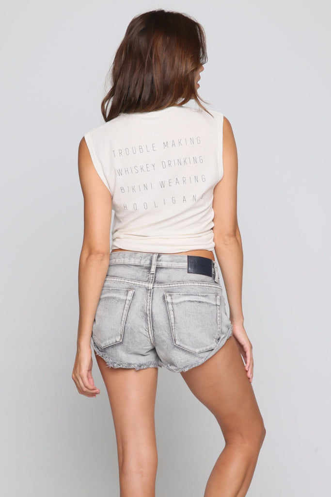 Slogan Muscle Tee in Ivory/Charcoal