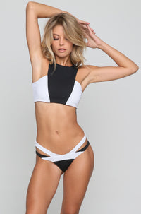 Cut Out Bikini Bottom in Black/White