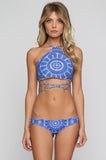 Donna Mizani Medallion Cheeky Bikini Bottom in Lapis|ISHINE365 - 2