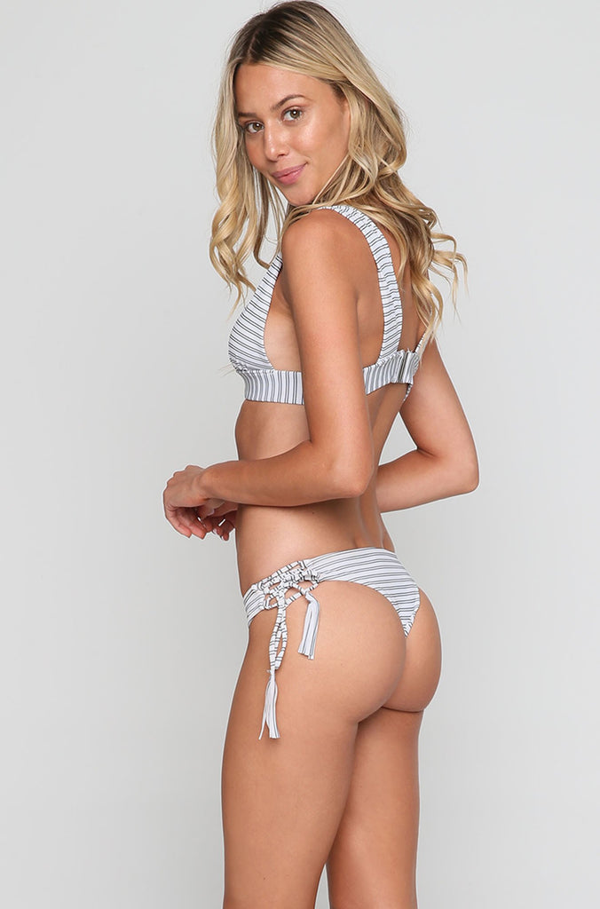 Puka Bikini Bottom in Stripe