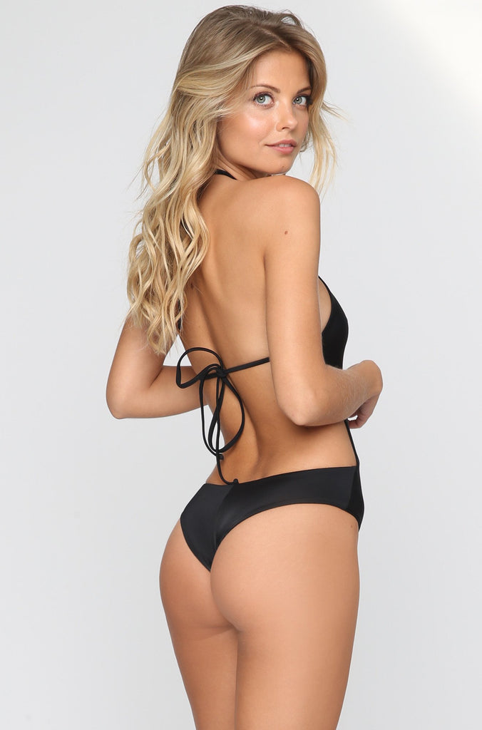 Leblon Lace-Up One Piece in Black