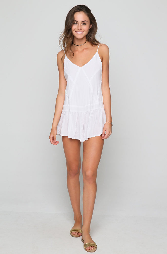Breeze Patchwork Romper in White