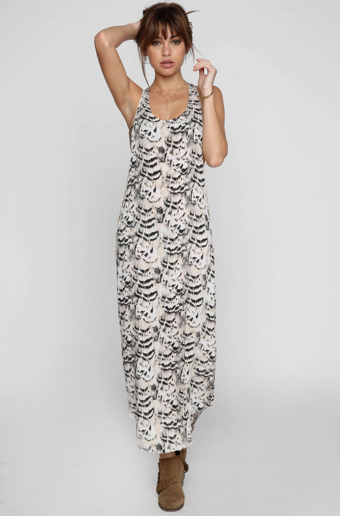 Tamri Maxi Dress in Natural Feathers