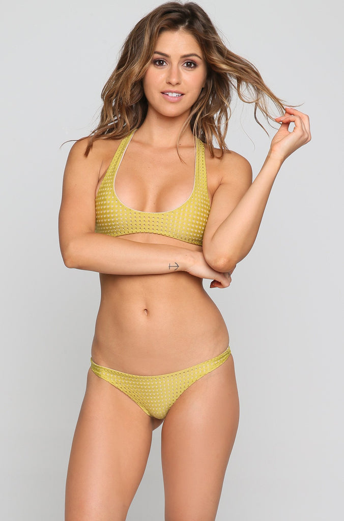 Pipeline Mesh Bikini Bottom in Pineapple/Clay