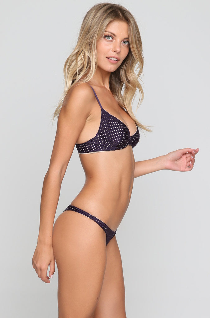 Pipeline Mesh Bikini Bottom in Blackberry/Clay