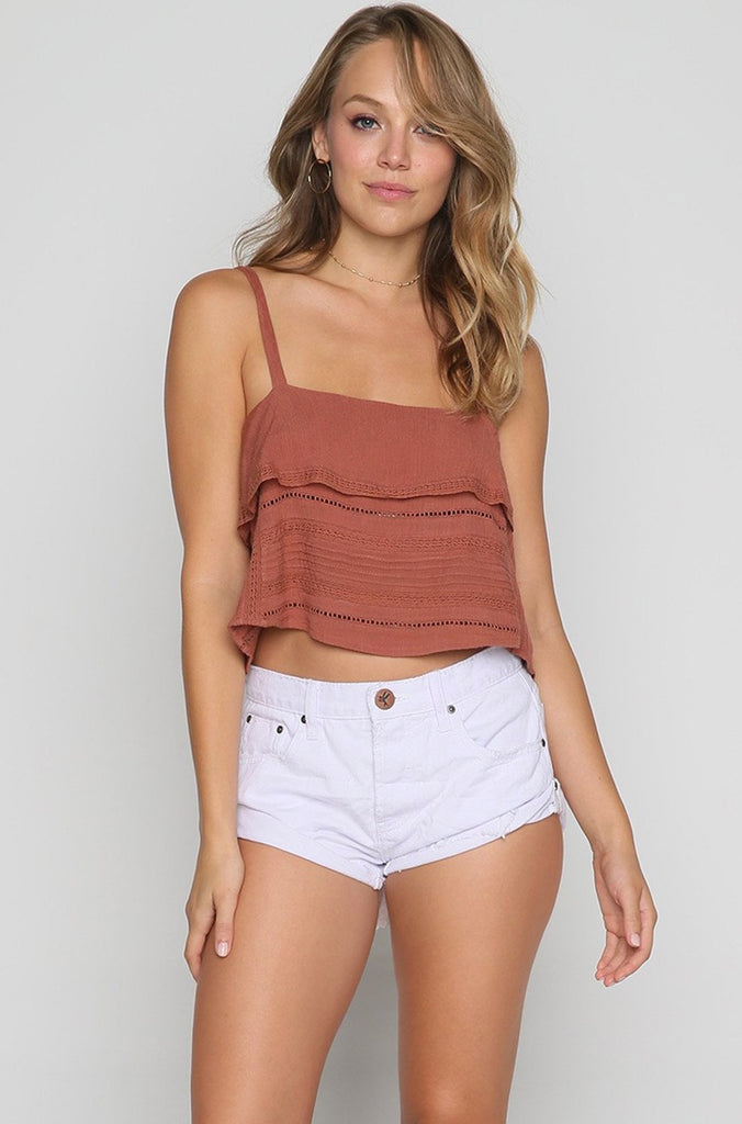 Hayes Woven Cami Top in Moccasin