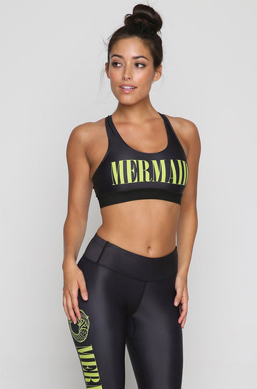 Mermaid Sports Bra in Black