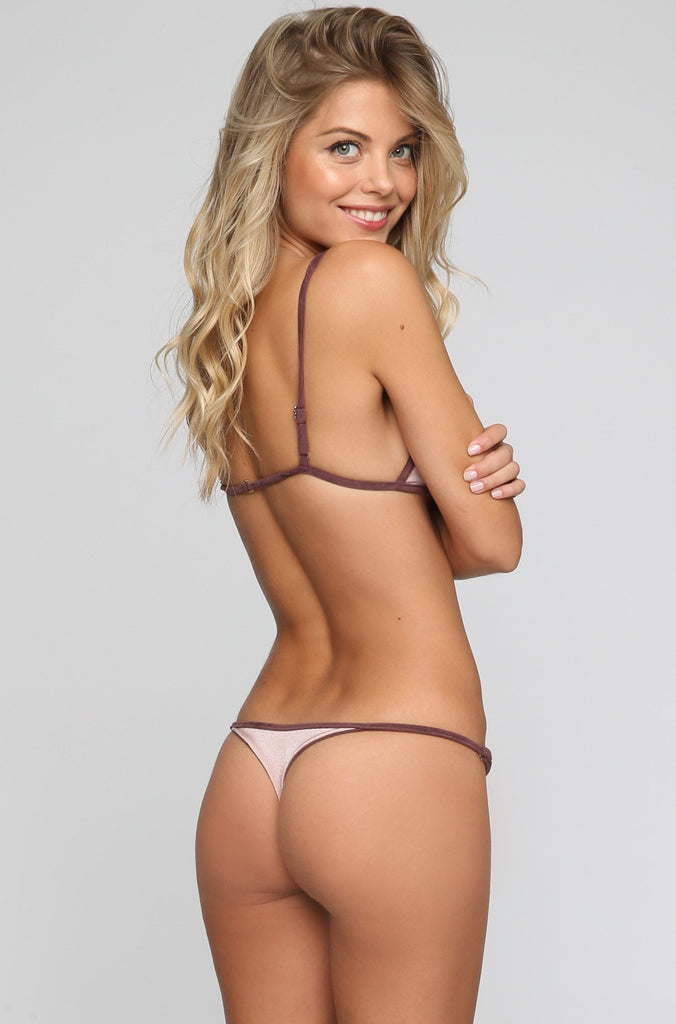 Cameron Reversible Bikini Bottom in Suede Mauve/Blush