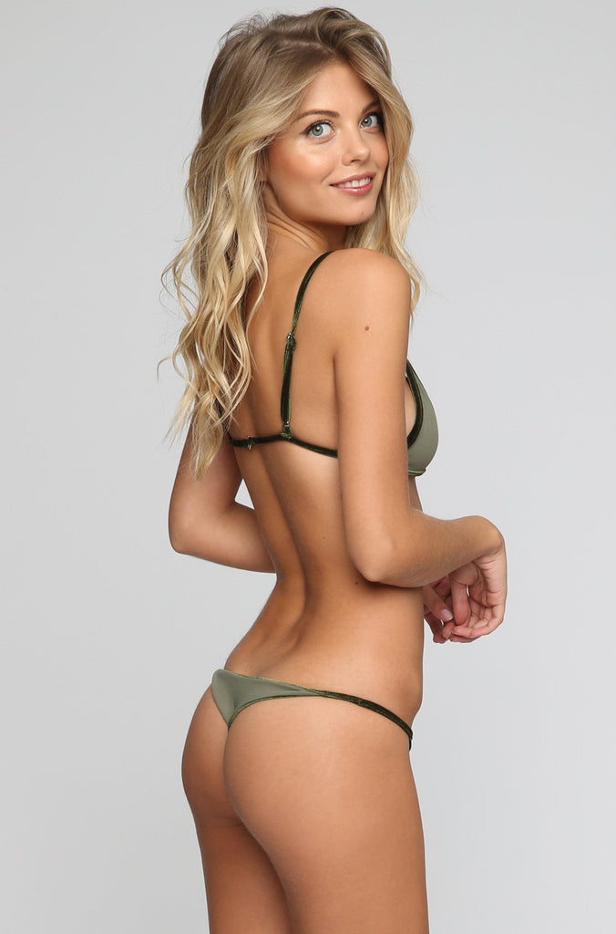 Cameron Reversible Bikini Bottom in Velvet Emerald/Olive