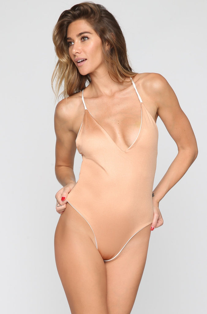 Jane Reversible One Piece in Velvet Ivory/Nude