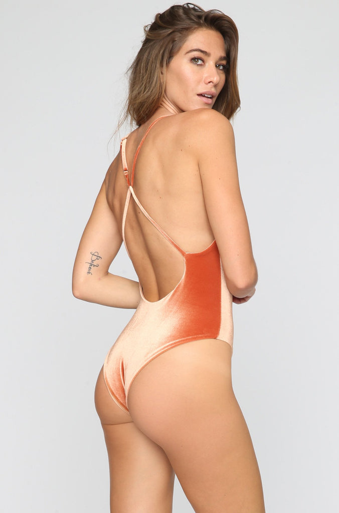 Jane Reversible One Piece in Velvet Rust/Nude